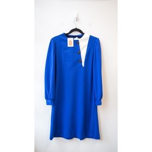 Blue Long Sleeve Dress with Buttons